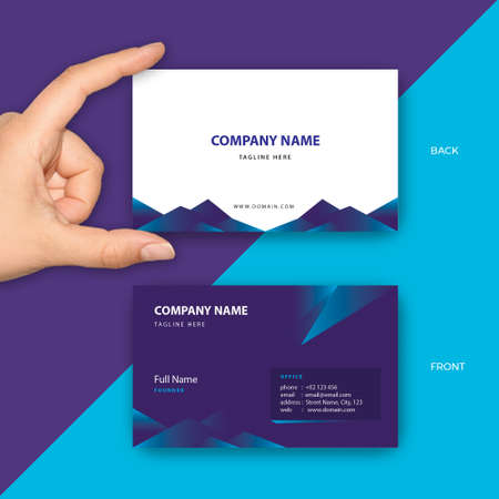Luxury Purple Business Card Vector Template fit for Modern Company, New Startup, Corporate, Professional, CEO, Founder, Manager, Agency, Consulting Firm Illustration