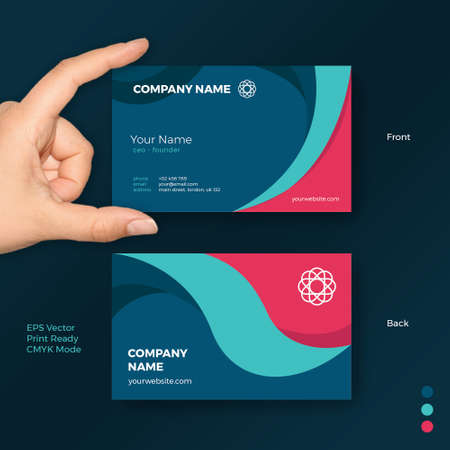 Creative Shape Business Card Vector Template for Modern Company, Startup, Agency and Professional