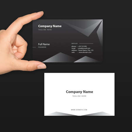 blacks: Black Business Card Vector Template - fit for High End and Exclusive Company, Startup and Professional Business Illustration