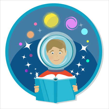 scifi: Boy reading a book. Science fiction, sci-fi. Power of imagination.