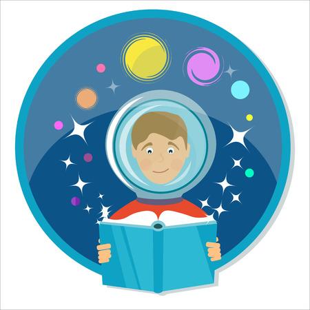 scifi: Boy reading a book. Science fiction, sci-fi. Power of imagination.