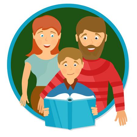 Happy family portrait. Schoolboy reading book. Education concept