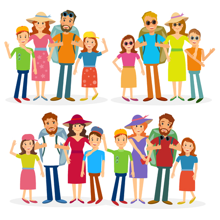 Traveling family vector people