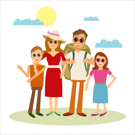 happy family: Happy family travels vector people Illustration