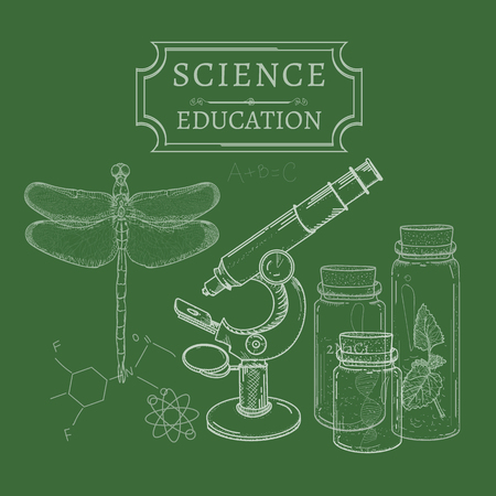 relic: Science and education blackboard concept study sketch hand drawn vector illustration Illustration