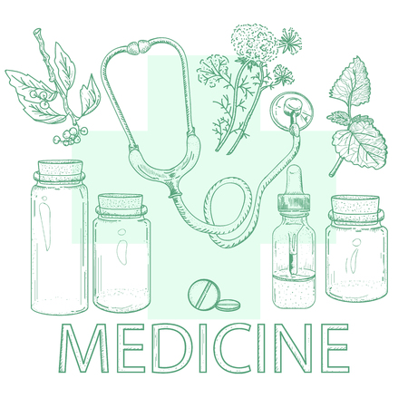 calendula: Herbal medicine alternative medicine concept hand drawn elements vintage sketch vector illustration