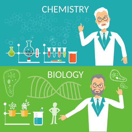 scientist man: Education banners biology and chemistry research scientist experiment vector illustration Illustration