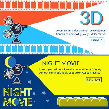 Cinema banners movie night movie premiere vector illustration