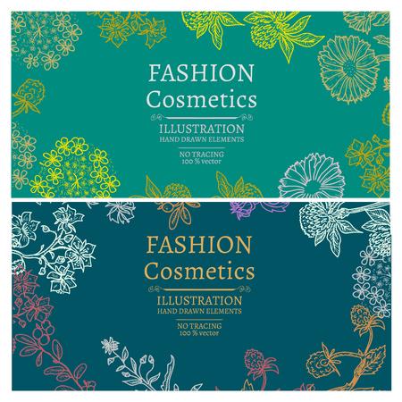 Fashion cosmetics banners hand drawn vintage sketch vector illustration