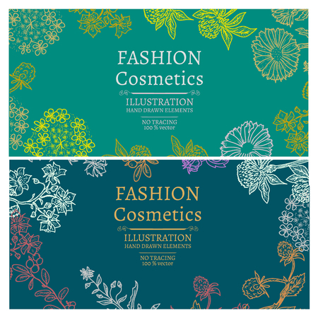 Fashion cosmetics banners hand drawn vintage sketch vector illustration