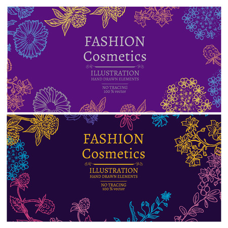 Fashion cosmetics flowers and herbs vintage hand drawn template banner vector illustration Ilustracja