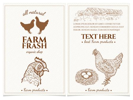 닭고기와 계란 농장 신선한 제품 디자인 템플릿 빈티지 손으로 그려진