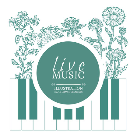 live music: Musical cafe live music cover template hand drawn vintage sketch