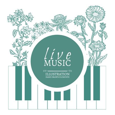 Musical cafe live muziek dekkingsmalplaatje hand getekend vintage schets