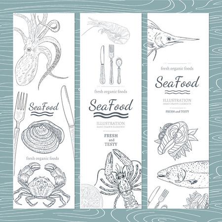 Sea food banner hand drawn vector Vectores