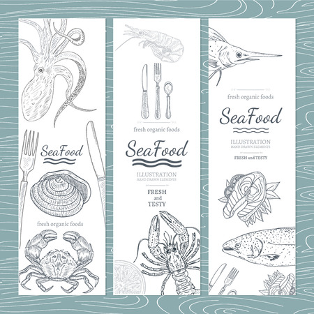 Sea food banner hand drawn vector Vettoriali