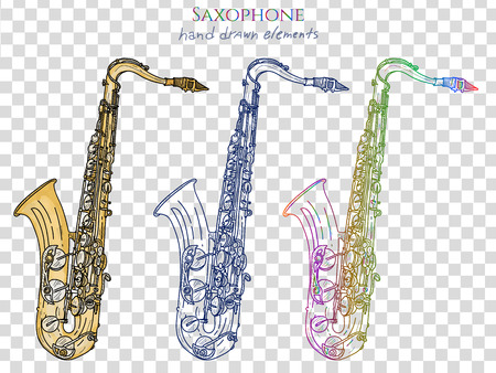 Saxophone isolé sur blanc vecteur