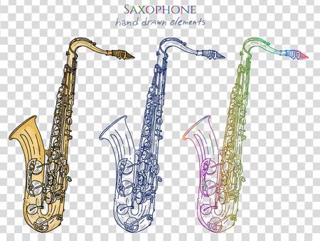 tenor: Saxophone isolated on white vector Illustration