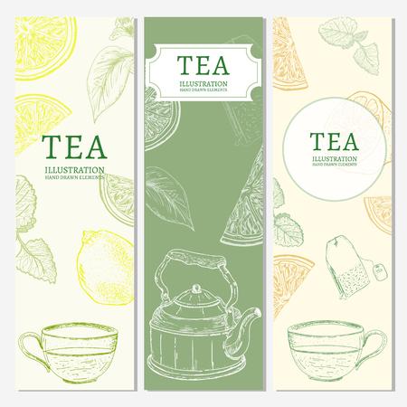 background cover: Tea banners hand drawn vintage tempate sketch vector illustration Illustration