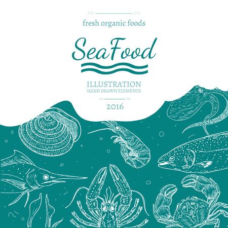 Sea food cover vector illustration