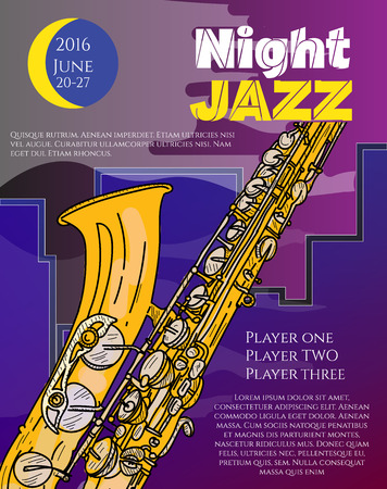 city live: Jazz music night jazz in the big city poster saxophone live music