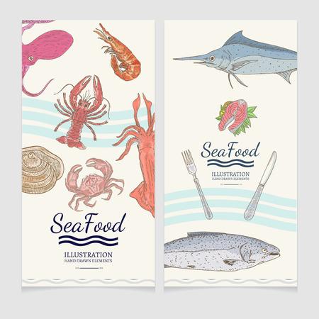 Menu de bannière de la mer alimentaire aquarelle illustration vectorielle dessinés à la main