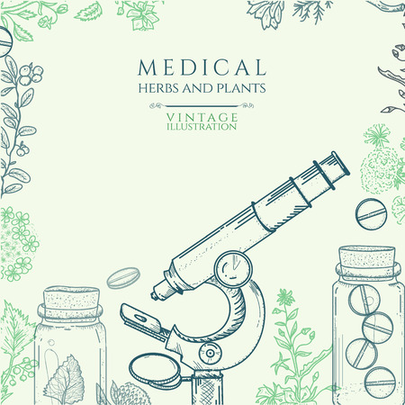 herbal medicine: Herbal medicine hand drawn vector illustration