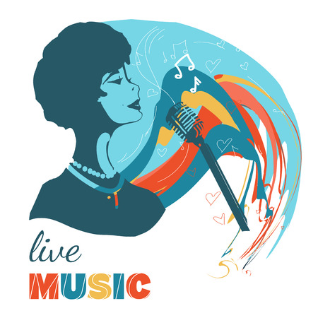 sings: Music woman sings hand drawn vector illustration Illustration