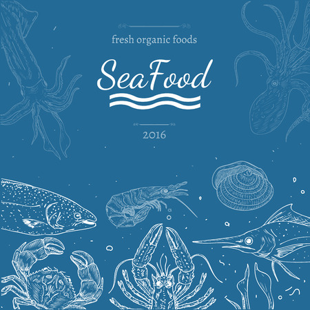 Sea food hand getekend vintage schets vector illustratie