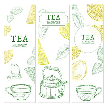 ceylon: Tea banners hand drawn elements vintage tempate sketch vector illustration Illustration