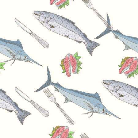 salmon fillet: Seafood seamless pattern salmon fillet with lemon and greens Illustration