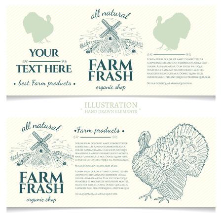gobbler: Turkey farm fresh products design template banner Illustration