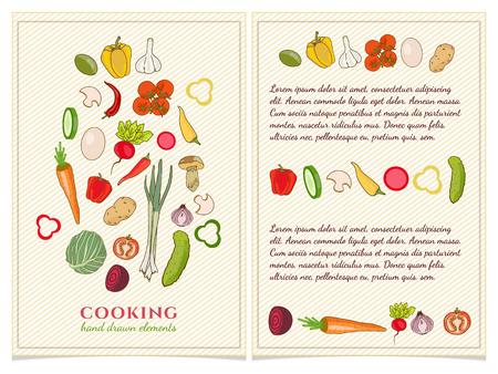 Cookbook Template Hand Drawn Elements Vector Vector