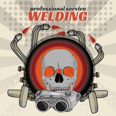 fabricator: Professional welding skull sticker welder pop art vector illustration