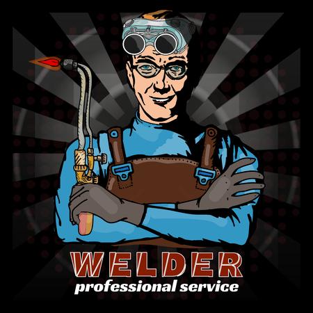 fabricator: Professional welder pop art style vector illustration
