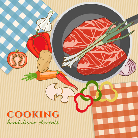 cooking time: Cooking kitchen table time to cook cooking recipes fresh meat and vegetables food template hand drawn sketch illustration Illustration