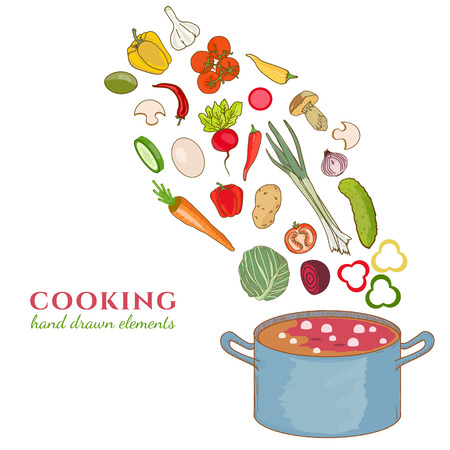 Cooking collection background vegetables fly in a pan hand drawn elements