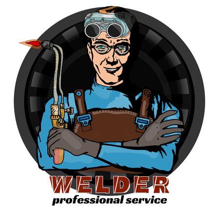 fabricator: Welding professional welder and tools isolated on white pop art vector illustration
