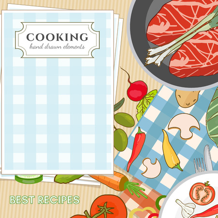 cooking book: Cooking book view from above fresh vegetables ingredientson the kitchen table hand drawn elements vector illustration Illustration
