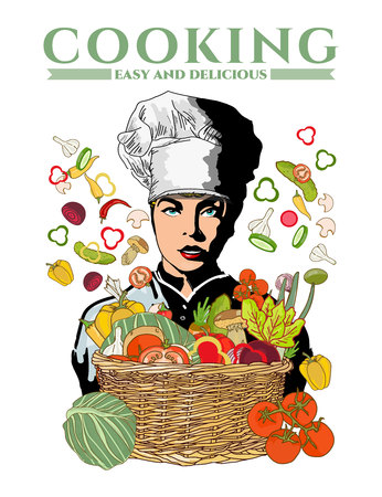 mom and pop: Woman chef beautiful girl cook fresh vegetables in a basket pop art vector