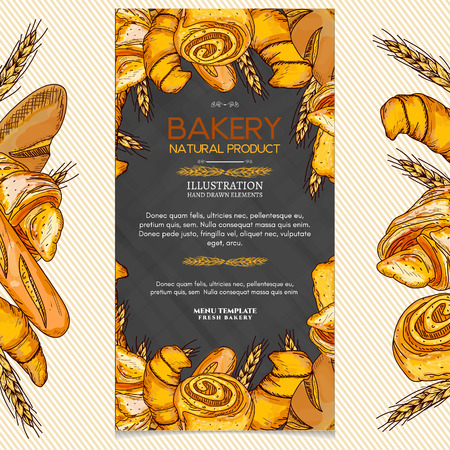 Bakery products banner pastry shop fresh bread and rolls vector illustration