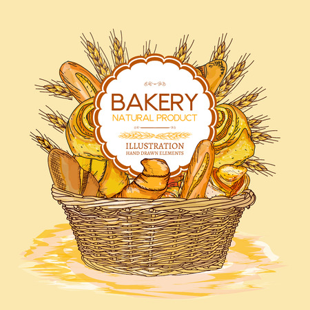 french countryside: Bakery basket food watercolor template hand drawn sketch illustration