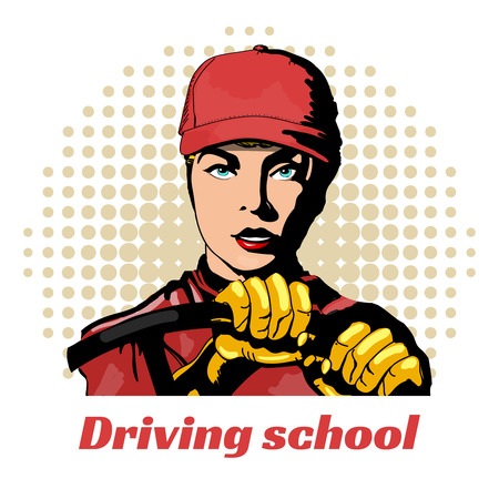 chauffeur: Driving school beautiful girl in the car pop art vector illustration