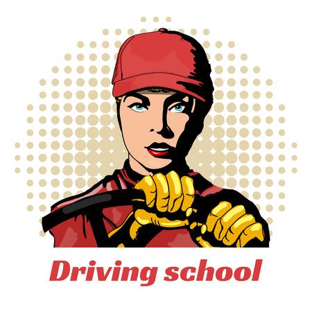 Fahrschule schönes Mädchen im Auto Pop-Art-Vektor-Illustration