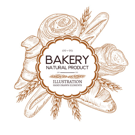 french countryside: Bakery shop food watercolor template hand drawn sketch illustration Illustration