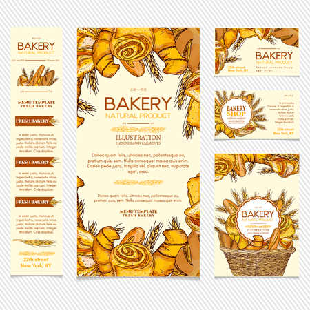 Bakery products restaurant menu template business card, page template vector illustration