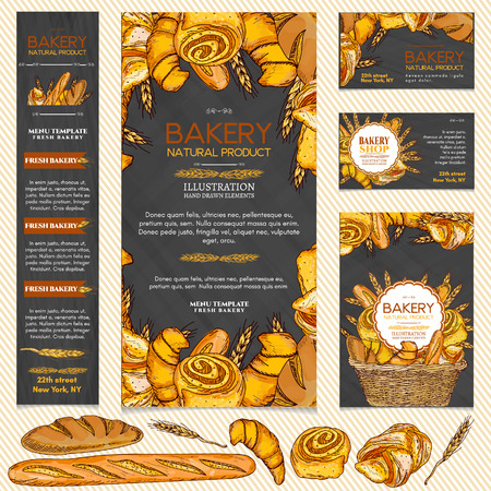 Bakery products restaurant menu page template business card vector illustration Vectores