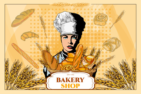 bread basket: Bakery shop. Beautiful woman with a basket of bread. Bakery basket. Fresh bread. Template. Pop art vector illustration