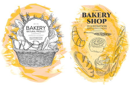 french countryside: Bakery basket. Bakery shop. Food template hand drawn sketch illustration