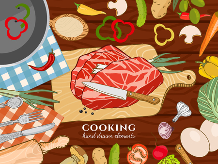 Cooking kitchen table time to cook cooking recipes fresh meat and vegetables